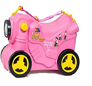 Molto Ride On Pull Along Kids Smiler Suitcase Wheeled Hand luggage - Pink by MOLTO