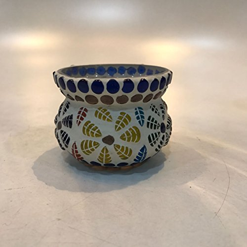 Dlite Crafts Multicolor Polka Design Home Decorative Votive Candle Holder, Set Of 2 PCs - B06XYMSBY7
