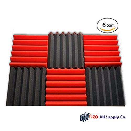 6-pk-2x12x12-red-charcoal-acoustic-panels-soundproofing-foam-acoustic-tiles-studio-foam-sound-wedges