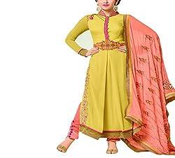 Wonder Villa Women's Faux Georgette Semi-Stitched Dress Material - ELIZA 5002_Yellow