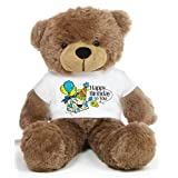 Brown 2 Feet Big Teddy Bear Wearing A Colorful Happy Birthday To You T-shirt