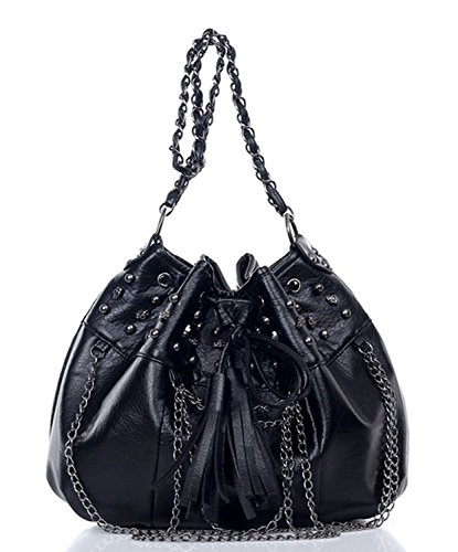 ILISHOP Hot Sale Women's Punk Style Faux Leather Gothic Skull Studded Chain Bowling Bucket Shoulder Bag