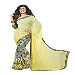 Grey & Yello Georgette Printed Saree with Blouse