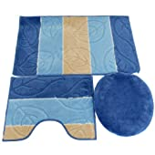 3 Piece Bathroom Bath & Pedestal Mat/Rug Set with Matching Toilet Seat Cover (5 Colours) (See Description) (Blue)