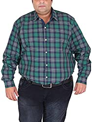 Xmex Men's Cotton Shirt (KR-703GRN, Green, XX-Large)