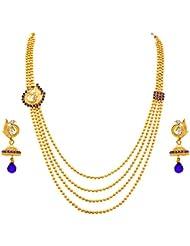 JFL - Exqusitie & Ethnic One Gram Gold Plated Diamond Bead Designer Peacock Multi-Strand Necklace Set/ Jewellery...