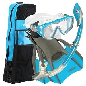 U.S.Divers Diva 1 LX/Island Dry LX Snorkel with Trek/Travel Bag, Aqua, Small