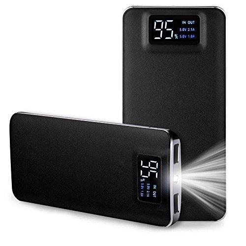 TSUNEO 10000mAh モバイルバッテリー 軽量 薄型 大容量 USB2ポート 2台同時充電可能 2.1A iphone スマホ 充電器 LEDライト付き ・黒 急速充電器 白/黒 選択可 (ブラック)