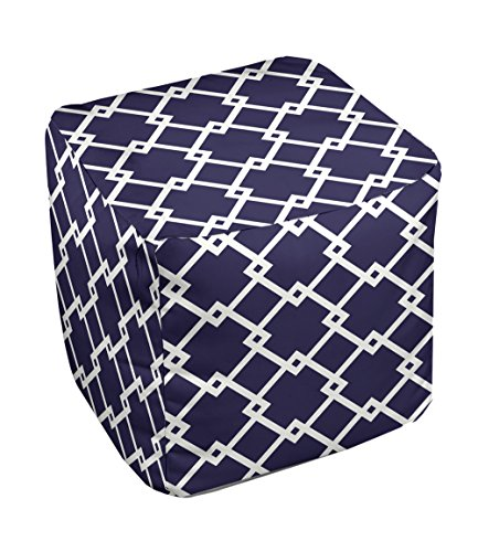 E by design FG-N10A-Spring_Navy-13 Geometric Pouf - 1