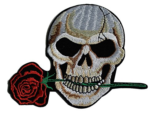 Application Skull with Rose Patch