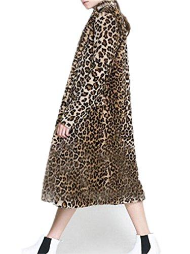 Women's Long Sleeve Faux Fur Leopard Outwear Coat with Two Pockets