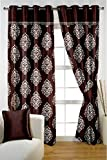 HOMEC Trendy Printed/ Frilled Door Curtains Set of 2 (Size - Door 46 X 84 inch/Color - Brown)