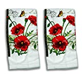 5 Pieces Red Floral Kitchet Set - 2 Towels, 2 Pot holders, 1 Oven mitt