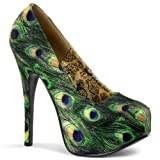 "BORDELLO TEEZE-06-5 Women's High Stiletto 5 3/4"" Heel Conceal Platform Maryjane, Color:Green Multi Peacock Fabric, Size:7"