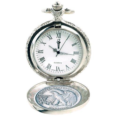 Walking Liberty Half Dollar Pocket Watch - US Minted .900 Fine Silver Coin
