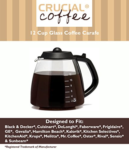 Universal Fit 12 Cup Glass Coffee Carafe Fits Black & Decker, Cuisinart DCC-1200 & DGB-900BC, DeLonghi, Hamilton Beach, Krups, Melitta, Mr. Coffee BVMC-SJX33GT & CG13 & Many More, Compare to Part # GL312