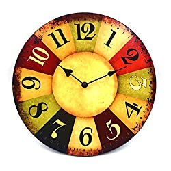 Hippih 12 Vintage Rustic Country Tuscan Style Wooden Decorative Round Wall Clock A