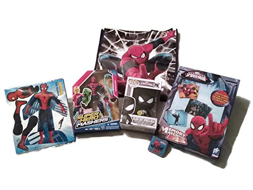 Ultimate Spider-man Fun Bundle - 1 x Spider-Man Super Hero Mashers, Funko Black Suit Spider-Man, Memory Match Game, Spider-Man Glider, Magic Towel and Reusable Tote Bag - (6 Items)
