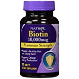Natrol Biotin 10,000 mcg Maximum Strength Tablets, 100 Count (Pack of 2)