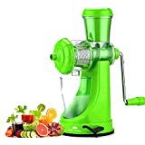 Kitchen Bazaar™ Deluxe Fruit & Vegetable Manual Juicer Mixer Grinder With Steel Handle Polypropylene Hand Juicer, Green