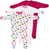 #5: Baby Grow Minni Berry Long Sleeve Cotton Sleep Suit Romper Set of 3 For Girls (3-6M)