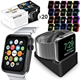 Orzly ULTIMATE PACK for Apple Watch (38 MM) - Includes Orzly Nightstand & Multi-Pack of 20 Assorted Orzly Face Plates Gift Pack