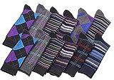 Mens Pattern Dress Socks Cotton Blend Colorful 8 Designes Size 10-13 (12 Pair) 2600