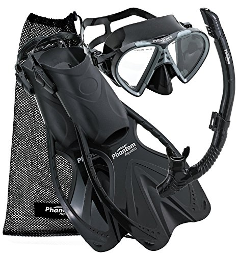 Phantom Aquatics Speed Sport Mask Fin Snorkel Set, Black, Large/X-Large/Size