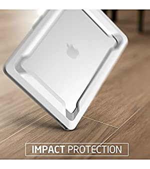i-Blason Designed for MacBook Pro 15 Case 2019 2018 2017 2016 Release A1990/A1707, [Heavy Duty] Slim Rubberized Cover with TPU Bumper for Apple Macbook Pro 15 with Touch Bar and Touch ID (Color: White, Tamaño: 15.4 Inches)