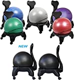 "Isokinetics Inc. Brand Balance Exercise Ball Chair - Black 52cm Ball - Exclusive: Office size 60mm/2.5"" wheels (versus 50mm/2"" wheels used on other brands) - w/ Ball Measuring Tape & Starter Pump"