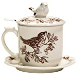Brown Toile Songbird Infuser Mug