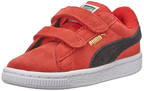 PUMA Suede 2 straps Sneaker (Infant/Toddler/Little Kid),High Risk Red/Black/Team Gold,10 M US Toddler