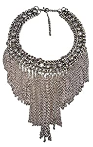 HONEYJOY Vintage Retro Stainless Steel Tassel Steampunk Style Choker Chunky Bib Necklace Inlay Crystal (Silver)