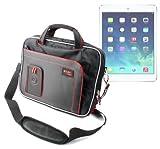 DURAGADGET Maletín Negro y Rojo Con Bandolera Ajustable Para El Nuevo Apple iPad Air Wi-Fi + Cellular Gris Espacial y Plata 16GB 32GB 64GB 128GB