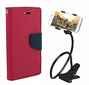 Aart Fancy Diary Card Wallet Flip Case Back Cover For HTC516 - (Pink) + 360 Rotating Bed Tablet Moblie Phone Holder Universal Car Holder Stand Lazy Bed Desktop for by Aart store.