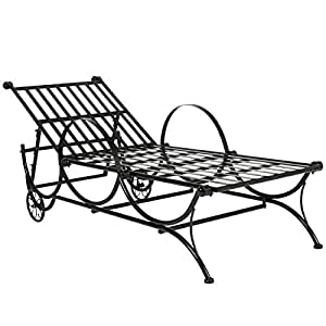 Best choice products black iron adjustable for Black metal chaise lounge outdoor