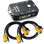2 Port USB KVM Switch Box VGA + 2Stk...