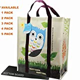 EcoJeannie 5 Pack Super Strong Laminated Woven Reusable Shopping Bag, Free Standing, Super Heavy Duty, Wipe-Clean, Extra Large Shopping Tote from Recycled Plastic (minimum 95%) with Plastic Bottom Board and Reinforced Nylon Handle - WTS051