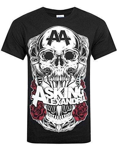 ASKING ALEXANDRIA-Skin ufficiale, SHADOW-Maglietta da uomo, collezione 2014, colore: nero nero nero Small 36-38