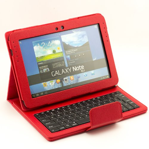 Supernight Detachable Removable Bluetooth Keyboard Case Cover With Led Indicators For Samsung Galaxy Note 10.1 N8000 N8010 N8013 Tablet.Color :Red