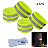 Techion Reflective Fabric Armband / Ankle Bands with Velcro and Two Reflective Strips for Cycling / Biking / Walking / Jogging / Running Gear and Outdoor Sports(4 Pack Green)