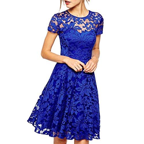 64cd96d2717d mywy - Abito donna svasato elegante vestito tipo pizzo cerimonia vestitino  blu festa