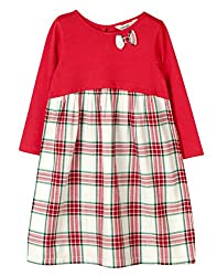 Beebay Girls Beebay Girls 100% Cotton Knitted Red & White Check Jersey Bow Dress (G3816206401958_Red_3-4 Years)