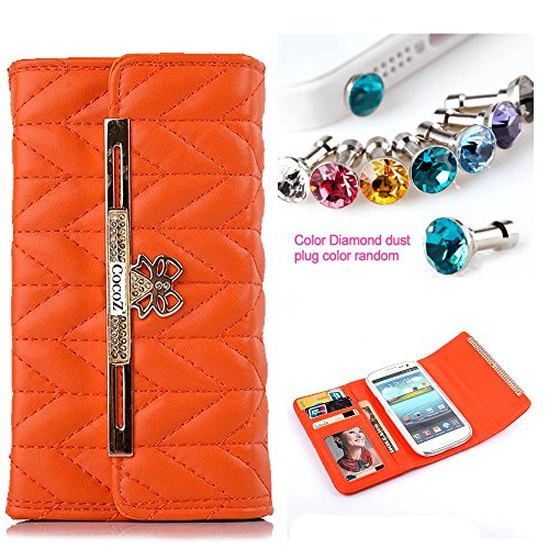 Cocoz® Samsung Galaxy S3/I9300/Galaxy Siii Case Fashion Color Pu Leather Case Card Holder Flip Case Cover Credit/Id Card Slots/Holder&Strap (Orange)