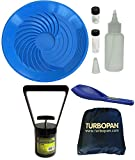 "Turbopan 16"" ELECTRIC BLUE Gold Pan COMPLETE KIT! With Vials, Snuffer, Black Sand Magnet, Sand Scoop and Carry Bag/Backpack"
