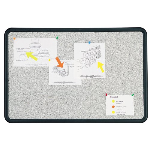 Quartet Contour Bulletin Board, 2 Feet x 3 Feet, Granite-Colored Surface with Black Plastic Frame (699370)