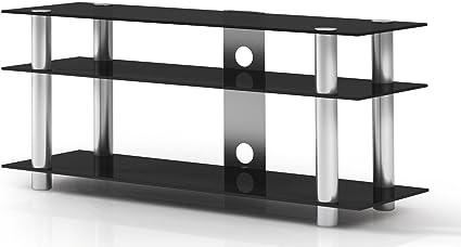 Just-Rack TV 1203 Aluminium-Schwarzglas Universalmöbel fur Flachbildschirme, TV - und Audio Geräte