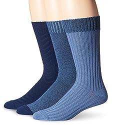 Lucky Men's Overdye Herring Cable Casual Crew Socks, Denim, 10-13/6-12 (Pack of 3)