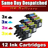 12 compatible Ink Cartridges to Brother LC1220 LC1240 (3x LC1240BK + 3x LC1240C + 3x LC1240M + 3x LC1240Y) for Brother MFC-J280W, MFC-J425W, MFC-J430W, MFC-J435W, MFC-J5910DW, MFC-J625DW, MFC-J6510DW, MFC-J6710DW, MFC-J6910DW, MFC-J825DW, MFC-J835DW, DCP