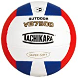 Tachikara VB7500 SUPER-SOFT® Composite Leather Stitched Outdoor Volleyball , Regulation/Scarlet/White/Royal